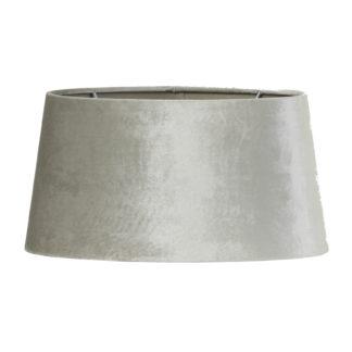 Lampenschirm silber grau zinc space dust Velours Samt oval Ellipse Lampenschirm edel von Light und living oval