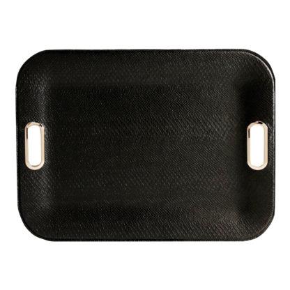 Tablett Leder Kroko Reptil Optik in schwarz mit Edelstahl Griffen sehr edel Dekotablett schwarz Lederimitat Kroko schwarz Serviertablett