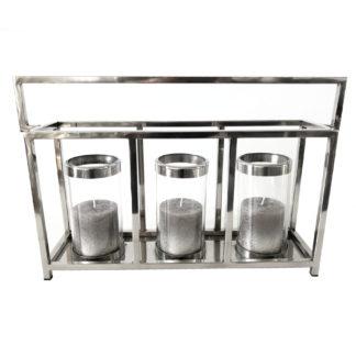Teelicht Teelichthalter Kerzenhalter silber Alu Glas Metall länglich mit Halter für 3 Kerzen von Collectione Windlicht Metall