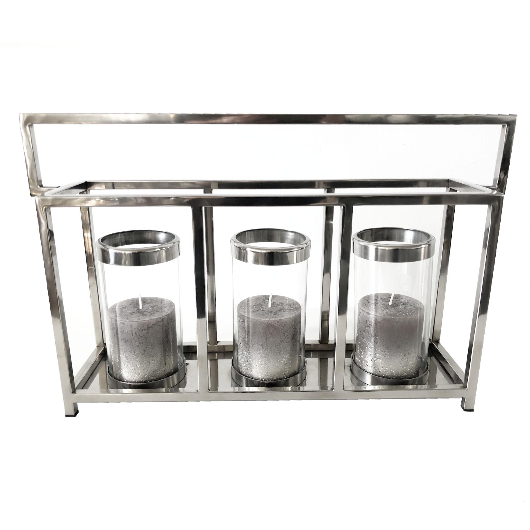 edles windlicht kerzenhalter alu glas l nglich silber. Black Bedroom Furniture Sets. Home Design Ideas