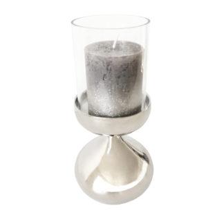 Teelichhalter Kerzenständer silber Metall Glas rund Kugelform Aluminium vernickelt sehr edel von Colmore