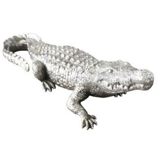 Dekofigur Krokodil Alligator Reptil silber aus Kunststein Polyresin von Cor Mulder Dschungel Exotik Regenwald Deko fürs Heim
