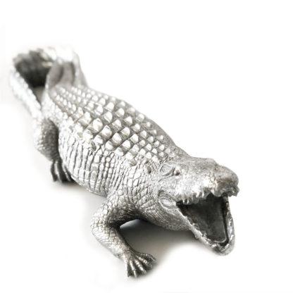 Dekofigur Krokodil Alligator Reptil silber aus Kunststein Polyresin 61 cm XL von Cor Mulder Dschungel Exotik Regenwald Deko fürs Heim