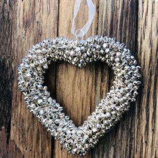 Herz Glöckchen silber Metall Herz Hänger silber mit kleinen Glöckchen