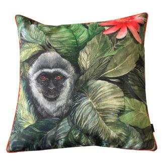 Kissen grün Affe Judy Dschungel Exotik Design Safari Affe mit exotischen Blumen steen design Kissen mit Inlett 45 cm
