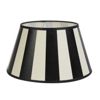 Lampenschirm schwarz weiß creme gestreift King rund 20x15x13 cm von Light & Living Stoff Textil Lampenschirm gestreift