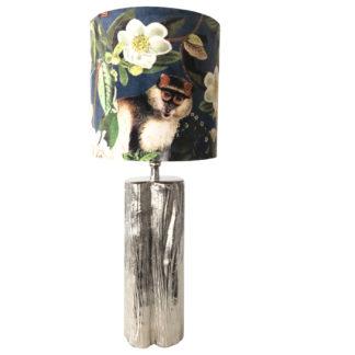 Tischlampe Tocon silber Metall mit Lampenschirm Samt mit Motiv Affe Papagei Blüten Exotik Dschungel gold blau grün weiß