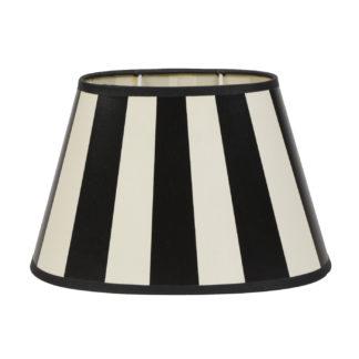 Lampenschirm schwarz weiß gestreift oval King aus Stoff von Light and Living