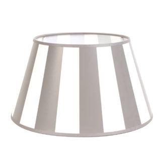 Lampenschirm taupe beige weiß gestreift King taupe rund 20x15x13 cm von Light & Living Stoff Lampenschirm