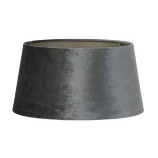 Lampenschirm grau zinc Graphite grau Velours Samt rund Lampenschirm edel von Light und living rund grau anthrazit