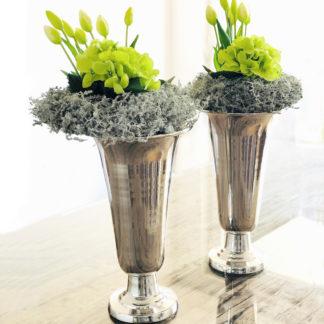 Vase Pokalvase Vase Pokal silber Aluminium vernickelt Metall 38 cm Werner Voss edel groß Blumenvase Pokal silber Metall
