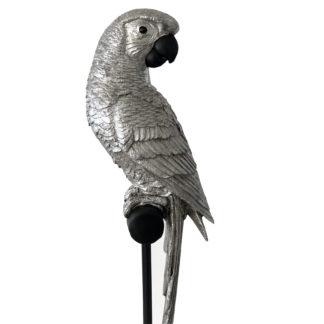 Papagei silber auf Ständer Dschungel Exotischer Vogel Papagei silber edel 64 cm XL von Cor Mulder aus Polyresin