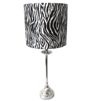 Tischlampe Zebra Motiv schwarz weiß silber Lampenfuß silber Metall Lampenschirm Zebra Muster schwarz weiß Colmore