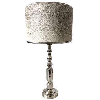 Tischlampe Lampenfuß Merlijn silber Metall rund Zylinder 36 cm edel Modern von der Marke Light and Living mit Lampenschirm Kuhfell echt Fell