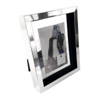 Bilderrahmen silber Edelstahl Float von Wittkemper sehr edel 24x19x4 cm für 10x15 cm Bilder moderner Bilderrahmen silber Edelstahl Glas