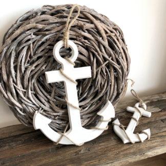 Deko Anker Holzanker weiß mit Seil Kordel Shabby chic Anker Sommer maritim Anker zum aufhängen