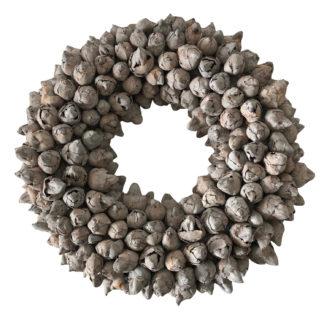 Kranz Naturkranz Kokos Frucht beige weiß Shabby chic Kranz Kokos Früchte Knospen Ø40 und Ø 55 cm Kranz Türkranz Wandkranz Dekokranz Tischkranz Kränze beige weiß COURONNE
