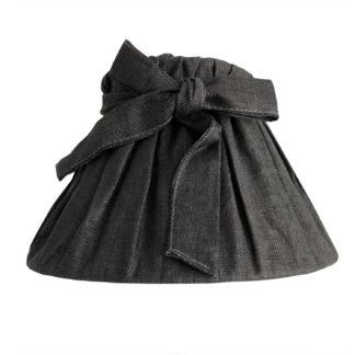 Tischlampe Lampenschirm anthrazit dunkel grau schwarz Lampenschirm schwarzer Stoff gerafft mit Schleife Shabby chic