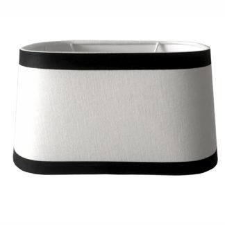 Tischlampe Lampenschirm schwarz weiß oval elegant edel exklusiver Lampenschirm Stoff Leinenstoff von colmore 25x19x14 cm