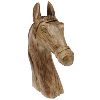 Pferdekopf Pferd Holzpferd Dekofigur Pferd aus Holz Naturton Pferdeliebhaber Turniere reiten Pferdebüste Western Pferdestall Pferdeskulptur 50 cm XL