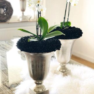 Pokal Vase Amphore Aluminium silber Handarbeit silber mit Sockel Blumenvase Pokalvase Amphore silber antik