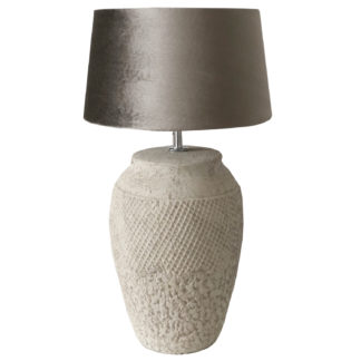 Tischlampe grau Lampenfuß grau beige aus Zement Beton Feinkeramik rund Vertan von Light and Living Shabby chic Landhaus Maritim mit Lampenschirm Samt taupe
