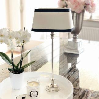 Tischlampe silber Lampenschirm schwarz weiß oval elegant edel exklusiv Lampenschirm Stoff Leinenstoff von colmore 25x19x14 cm