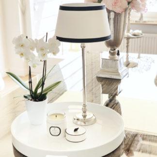 Tischlampe Lampenschirm schwarz weiß rund elegant edel exklusiver Lampenschirm weiß schwarz Stoff Leinenstoff von colmore 25x22x13 cm
