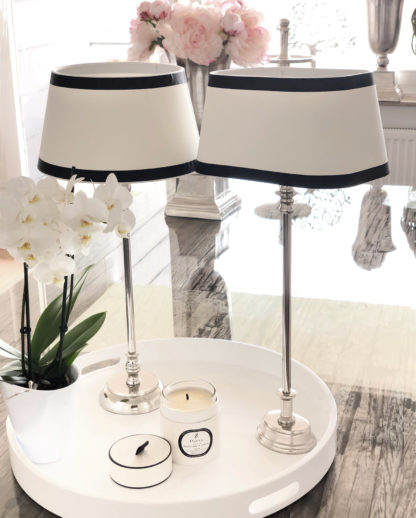 Tischlampe schwarz weiß oval Lampenschirm