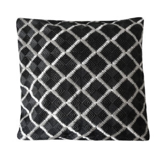 Kissen schwarz weiß silber bestickt Rautenmuster edel 50x50 cm von Zenza modern luxuriös Handmade aus Indien Kissen Leinen Baumwolle silber schwarz