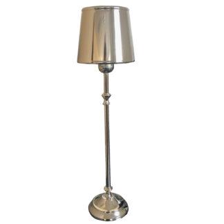Tischlampe silber Metall Lampenschirm Metall edel Klassisch alles Metall Lampenfuß silber Metall Aluminium Lampenschirm silber Metall