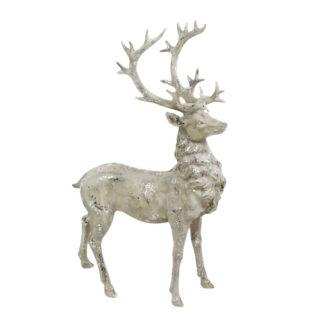 Hirsch Hirschfigur weiß beige Glimmer Polyresin edel 51 cm groß edel Hirsch Hirschgeweih weiß creme stehend Jagd Weihnachten Herbst Winter Jäger auf Jagd Reh Rentier