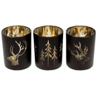 Teelicht schwarz gold Hirsch Winterzeit Teelicht 3er Set gold schwarz Motiv Hirsch und Wald rund edel Hirschgeweih Winterzeit Weihnachten Glas