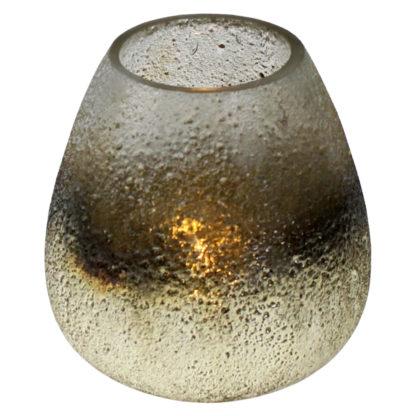 Teelicht silber Quarz Bonze aus Glas bauchig rund 14 cm hoch sehr edles Licht weihnachten Licht silber glas schimmernd