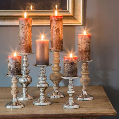 Kerzenhalter Kerzenständer Aluminium raw Nickel Metall silber in zwei Größen 21 und 26 cm edel Aluminium gebürstet Licht Lichtschein Weihnachtsleuchter Kerzenhalter Manresa von Light and Living