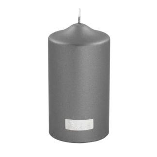 Stumpenkerze metallic grau von Fink- Living edel lange Brenndauer Kerzenwachs Licht Kerze grau