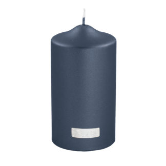 Stumpenkerze metallic blau blueberry von Fink- Living edel lange Brenndauer Kerzenwachs Licht Kerze blau
