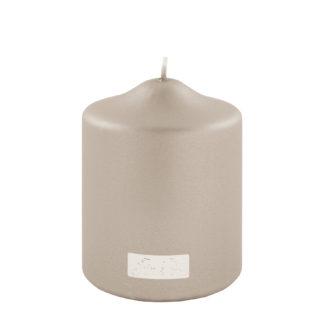 Stumpenkerze metallic stein beige silber von Fink- Living edel lange Brenndauer Kerzenwachs Licht Kerze stein silber beige taube