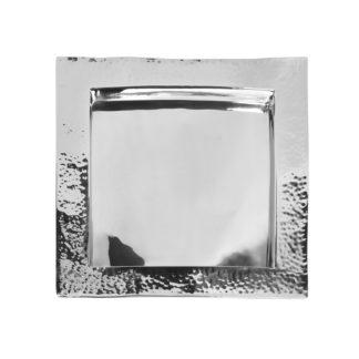 Tablett Serviertablett Piatto silber Hammerschlag von Fink quadratisch Deko-Tablett Hammerschlag Edelstahl silber für Speisen und Getränke edel hochwertig verarbeitet 34cm