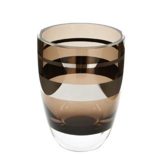 Teelichthalter Vase braun greige mit silber Platinumrand Riva von Fink sehr edles Teelicht braun goldig Windlicht Vase