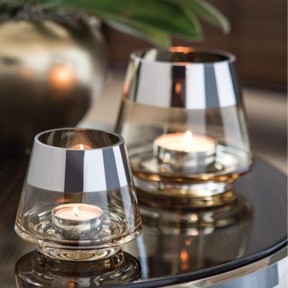 Teelicht Teelichthalter Gold silber rund Glas von Fink Jona sehr edel in zwei Größen Weihnachten Weihnachstdekoration