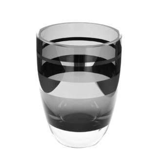 Teelichthalter Vase grau schwarz mit silber Platinrand Riva von Fink sehr edles Teelicht schwarz grau mit Silber Windlicht schwarz weiss