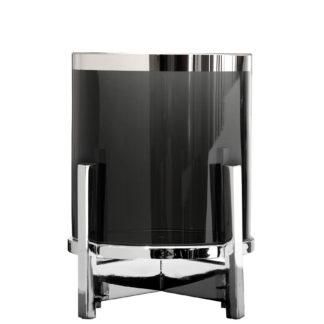 Teelicht Windlicht smoke schwarz Glas Charles von Fink 2teilig mit verchromten Fuss und schwerem Glas rund edel luxuriös Licht Tischdekoration hochwertig verarbeitet Teelicht mit Platinrand zeitloses Design