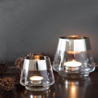 Teelicht Teelichthalter glasklar silber rund Glas von Fink Jona mit Platinumrand silber sehr edel in zwei Größen Weihnachten Sommer Tischdekoration Weihnachstdekoration Windlicht Jona von Fink Licht Kerzenschein