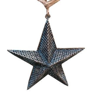 Weihnachtsstern Stern Dekostern Hänger blau antik petrol Stern petrol blau antik bronze Metall Weihnachten Weihnachtsbaum Baumschmuck Weihnachtsschmuck Stern blau