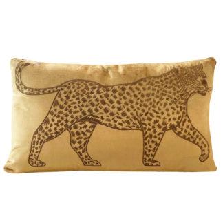 Dekokissen samt gold Tiger Leopard Panther in gold edel besticktes Kissen mit Leopard Kissen gold ocker Samt Dschungel Kissen Dekoration