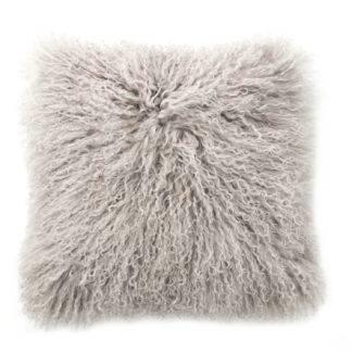 Kissen Tibet Lammfell taupe beige nute sehr weich 35 cm mit Inlett von auskin Kissen echt Lammfell Neuseeland Tibet Lammfell birch taupe Kuschelkissen