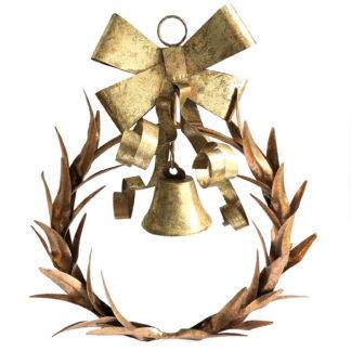 Kranz Dekokranz gold bronze antik aus Metall mit Glocke und Schleife Metallkranz Türkranz Fensterkranz Wandkranz gold antik Aufhänger Kranz