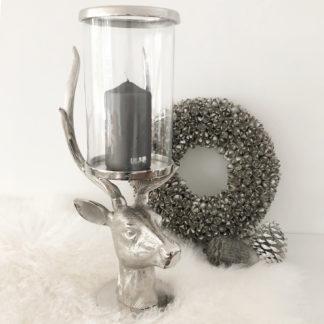Kerzenhalter Hirsch Hirschgeweih mit Glaseinsatz Kerzenständer Windlicht Hirsch Hirschgeweih Aluminium mit Glas Hirschkopf XXL