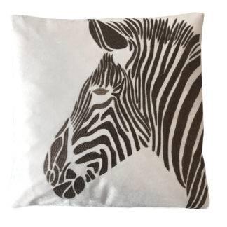 Kissen Zebra weiß braun beige animal print Dekokissen Motiv Zebra Zebrakopf edel bestickt Viskose Cotton Kissen gestreift von Colmore